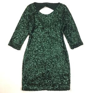 Express sequin cocktail sheath dress 3/4 sleeves